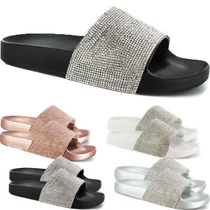 LADIES DIAMANTE GLITTER SLIDERS SLIP ON SLIPPERS SPARKLY SANDALS MULES SHOE SIZE