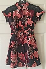 Girls River Island Black Red Floral Patterned Short Sleeve Dress 7 Years B35