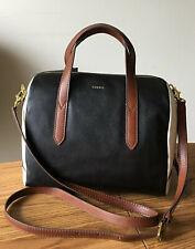 Fossil Hailey Black Multi Leather Satchel Crossbody Handbag SHB2174016