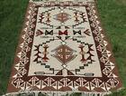 Large Wool Kilim Navajo Southwestern Bohemian Brown Gray Rug 5 x8  Handmade Rug