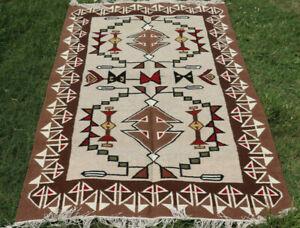 Large Wool Kilim Navajo Southwestern Bohemian Brown Gray Rug 5'x8' Handmade Rug