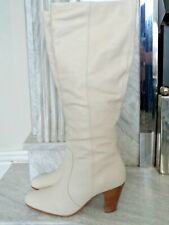 FAITH GORGEOUS CREAM LEATHER KNEE HIGH BOOTS WITH CUBAN WOODEN HEELS UK SIZE 6