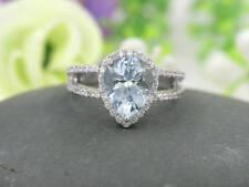 2ct Natural Aquamarine Pear Shaped Engagement Ring,Half Eternity 14k White Ring