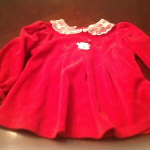Red Velvet Baby Outfit Dress and Long Pants 3-6 mos
