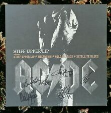 ACDC AC/DC AUTOGRAPHED SIGNED 12x12 STIFF UPPER LIP CD PROMO FLAT w/ PASS! RARE!