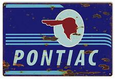 "Blue Reproduction Pontiac Gas Station Sign 12""x18"""