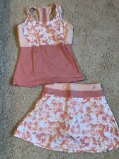 Prince womens tennis outfit top skort set dusty coral pink high waist EUC