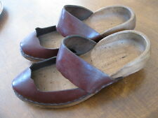 FINE Antique Vintage French Ladies USA size 8 Wood Wooden/Leather Shoes or Clogs