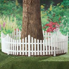 Set of 4 Flexible White Picket Fence Garden Border Edging - Covers 8 Feet