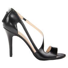 "NINE WEST Leather Strappy Asymmetric SIMPLISTIC 4"" Heel Sandals Black • 7 • NEW"
