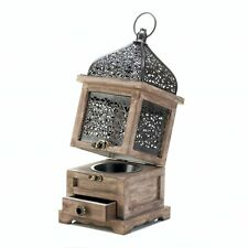 Large Flip-Top Moroccan Wooden Metal Candle Lantern