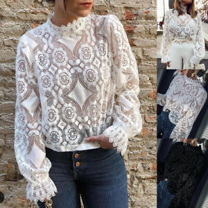Autumn Women High Neck Lace Floral Tops Ladies Long Sleeve Casual T Shirt Blouse