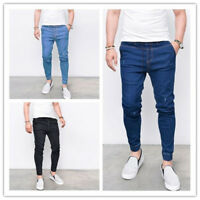Mens Cuffed Chinos Jogger Skinny Dance Pants Slim Fit Biker Casual Denim Jeans