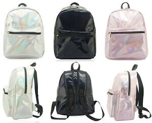 WOMENS HOLOGRAPHIC GYM TRAVEL DAILY USE BACKPACK SHOULDER BAG BACK TO SCHOOL BAG