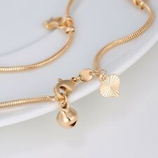 """9ct 9k Yellow """"Gold FILLED"""" Hearts Stars & Bell ANKLE Snake CHAIN ANKLET ,10.63"""""""