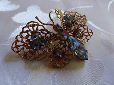 alte Brosche Schmetterling filigran blaue Steine - aus Nachlass