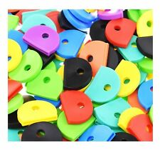 10 x COLOUR KEY CAP CAPS TOP COVERS TAGS ID MARKERS KEYRING MIXED COLOURS CAPS