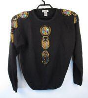 Vtg De Rotchild Silk Angora Knit Sweater Sz L Rhinestone Beading Bling Holiday