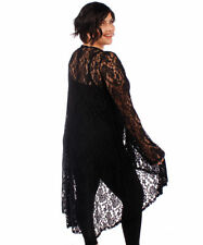 Womens Long Soft LACE Draping Asym Cardigan BLACK Womens Plus Size 5X