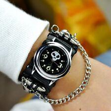 Women's Men's Punk Biker Rock Skull Chain Leather Bracelet Wrist watch Analog