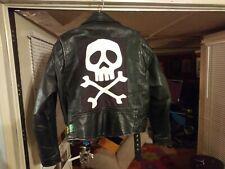 Mens Vintage Genuine Leather Biker Jacket - Punk Metal Misfits Danzig Patch