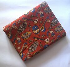 Cotton kalamkari print soft fabric - 100 cms Small Musicals Red base