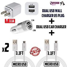 3.1A DUAL Charger Combo Kit Wall Car Charger 2 cables for For Android MICRO USB