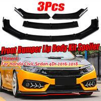 Front Bumper Lip Spoiler Chin Splitters For Honda Civic Sedan 16-20 Glossy Black