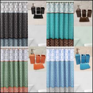 Luxury Bathroom Combo 19 piece Set Ceramic Bath mats Shower Curtain DIAMOND