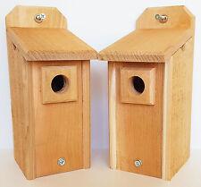 2 Chickadee Houses with Predator Guard Natural Cedar Hand Made