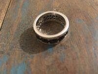 Thomas Sabo Sterling silver 925 ring black stones Mens size S