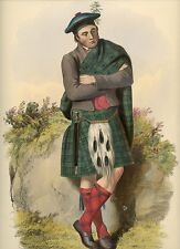 GRAHAM Original 1847 McIAN Hand Colored Litho CLANS of the SCOTTISH HIGHLANDS