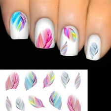 2pc/set Feather Nail Art Water Transfer Decal Sticker Rainbow Dreams Color Sheet