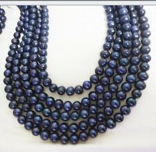 5 PCSWholesale Dark Black Pearl Round Spacer Loose Beads Necklace 15.8'' 8-9MM