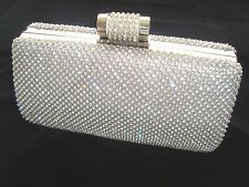 eab429348fb Large Silver Bling Diamond Diamante Crystal Evening Bag Clutch Purse Party  Prom