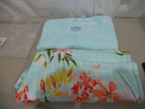 Croft & Barrow Aqua eyelet Top / floral print Capri Pants Pajama Set PXS