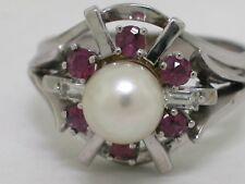 Zuchtperlen Ring 585 Gold 14Kt Gold 1 Perle 6 Rubine  2 Diamanten