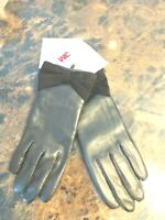 Wilson Leather Women Black Gloves With Bow Size L.