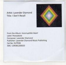 (DK112) Lavender Diamond, I Don't Recall - 2013 DJ CD