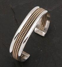 Navajo Armreif  Indian Design  925/000 Silber  + 500/000 Goldinlay Handarbeit