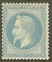 "FRANCE STAMP TIMBRE N° 29B "" NAPOLEON III 20c BLEU TYPE II 1868 "" NEUF xx TB"
