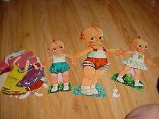 Vtg- 60s-70s-Paper Dolls-Cut Outs Clothes-Kewpie Cupie Qp Doll-Original
