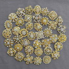 40 pcs Brooch Lot Gold Rhinestone Crystal Pin Wedding Bouquet DIY Kit Wholesale