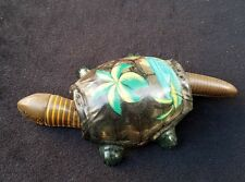 Old Tin Litho FLORIDA Souvenir TURTLE Nodding Head Wiggly Tail Great Detail Palm