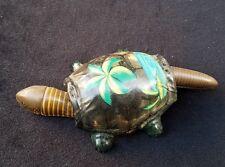 Old Tin Litho FLORIDA Souvenir TURTLE Nodding Head Wiggly Tail Great Detail Palm