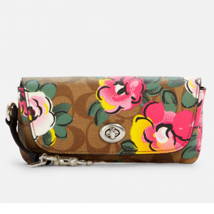 Coach Sunglass Case In Signature Canvas With Vintage Rose Print