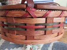 Iowa Amish Round Pie Carrier Woven Oak Basket with Lid & Leather Handles  Signed