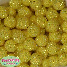 20mm Yellow Rhinestpone Bubblegum Beads sparkly gumball jewelry 20 beads