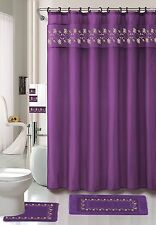 Embroidered Floral 18 Piece Bathroom Set Rugs Shower Curtain Hooks Towels Purple