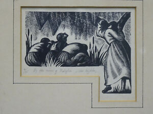 RARE SIGNED CLARE LEIGHTON WOODCUT LITHOGRAPH BY THE RIVER OF BABYLON 4/75